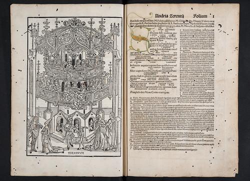 Woodcut illustration and illuminated initial in Terentius Afer, Publius: Comoediae