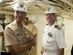 AVONDALE, La. (July 25, 2012) U.S. Pacific Fleet Commander Adm. Cecil D. Haney and Cmdr. Brian Quin, commanding officer of Pre-commissioning Unit (PCU) Anchorage (LPD 23), tour the medical spaces of the amphibious transport dock ship. Following the tour, Haney spoke with the crews of both Anchorage and  PCU Somerset (LPD 25), expressing his excitement for the new additions to the fleet. (U.S. Navy photo by Mass Communication Specialist 1st Class Aramis X. Ramirez)
