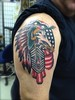 Eagle in Headdress American Flag Airforce Cheif Master Sergeant Tattoo by KeelHauled Mike of Black Anchor Tattoo in Denton Maryland Eagle in Headdress