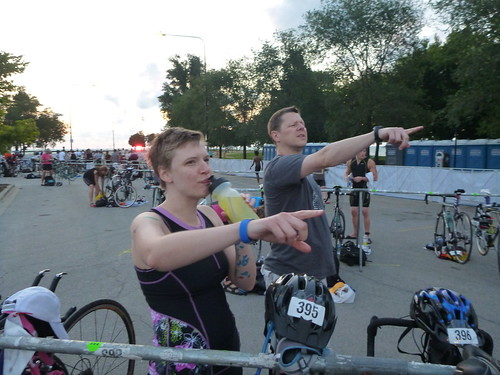 Erica and Shaun point at bike out
