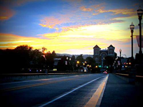 sunset clouds courthouse derecho owego