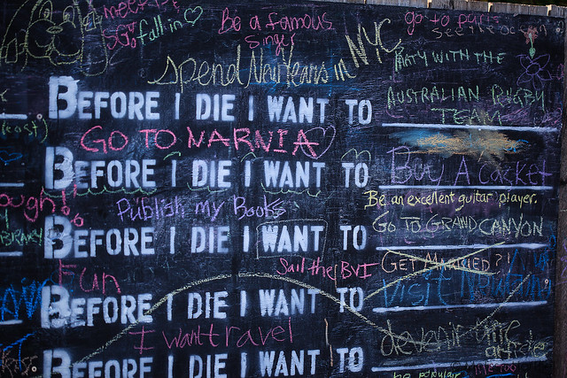 Chalkboard of Before I Die I Want To statements