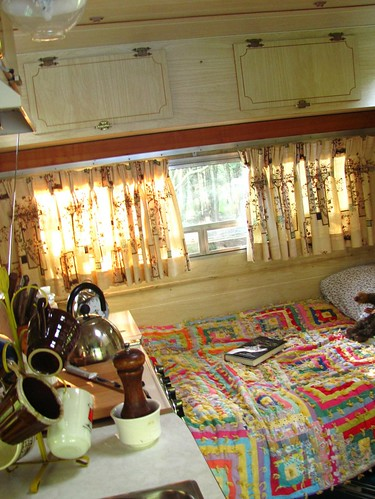 inside the Winnebago showing a user friendly kitchenette by Stephanie Distler