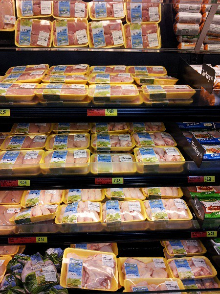 Wall of Crescent Foods Halal Chicken Products at Walmart near Detroit, MI