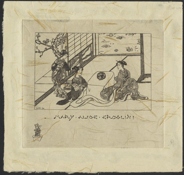 bookplate: Japanese themed with 3 ladies in traditional Japanese house