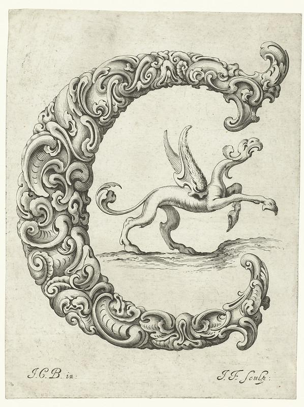 Letter 'C' - baroque fantasy design (Bierpfaff + Falck, 1656)