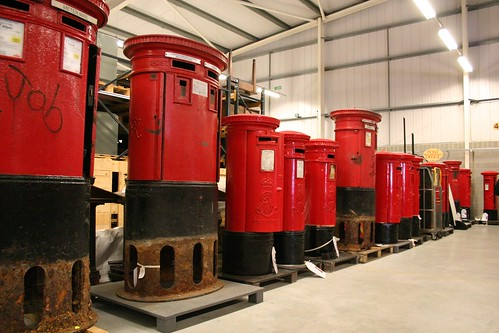 A line up of modern post boxes