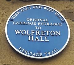 Photo of Wolfreton Hall, Kirk Ella blue plaque