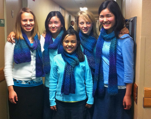 5 matching scarves