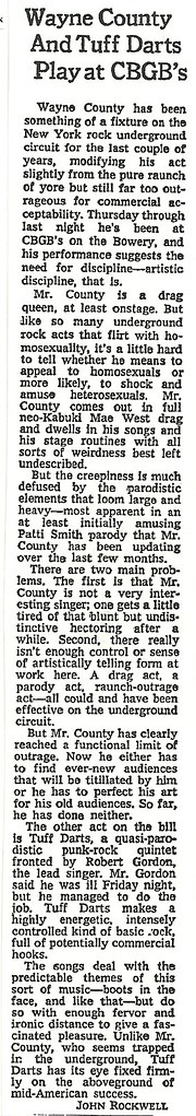03-07-76 New York Times (Wayne County and Tuff Darts at CBGB)