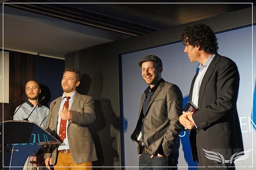 The Establishing Shot: Reed.co.uk Short Film Awards 2012 at The Hospital Club - Judges Commendation Award winner Jonathan Brooks, Stephen Mangan & 2011 winners Ben Ridolfi & Phil Derham by Craig Grobler
