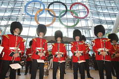 Giant Olympic Rings unveiled at Heathrow ready to welcome visitors to London 2012
