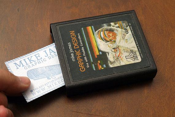 Tarjetero y tarjetas de Atari 2600