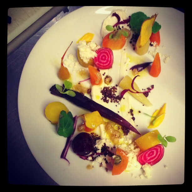 Salad of heirloom carrots, goats' curd, hazelnut and cocoa