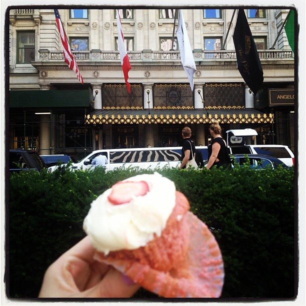 "Me and this strawberry lemonade cupcake saying ""bye for now"" to The Plaza"