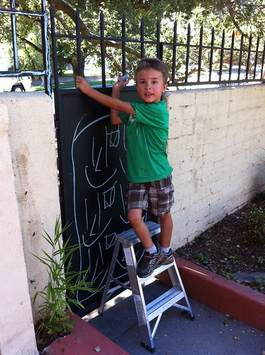 Ezra going up to finish the artwork