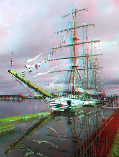 water reflections 3d anaglyph stereo tallship puddles rainclouds stormyskies capecodcanal trainingship rainyweather indonesiannavy kridewaruci massmaritimeacademy opsail2012 sunburstthrutheclouds