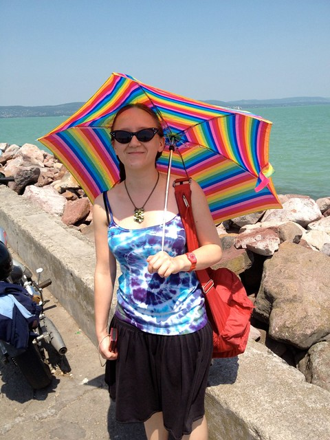Choir member Selena protecting herself from the hot sun on Lake Balaton