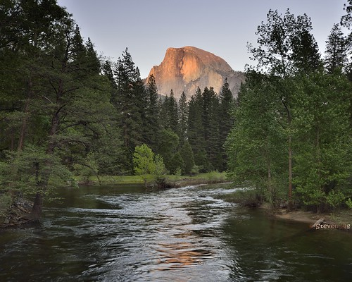 Sunset on Half Dome. Merced river. Sentinel bridge