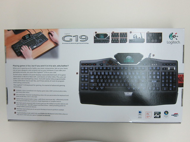 Logitech G19 Gaming Keyboard - Box Back