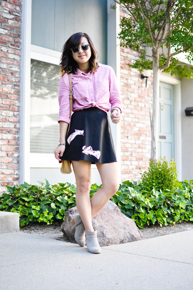 cropped button up {Urban Outfitters}, black floral skirt {Urban Outfitters}, Dolce Vita Jamisons, vintage Coach satchel, Sunnies {Charlotte Russe}, vintage watch, assorted bracelets {F21 & Korea}