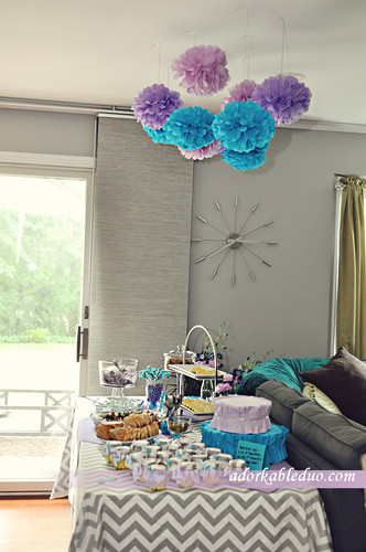 table setup for gender reveal party
