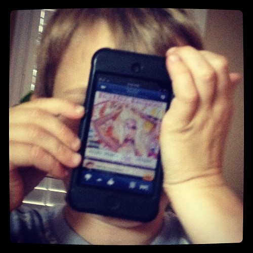 Listening to Pink on his iPod