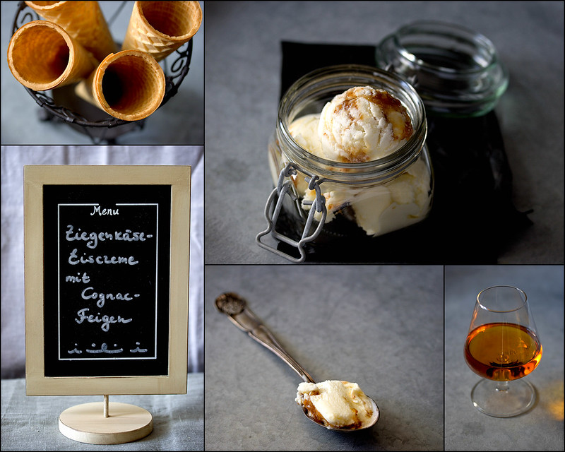 Ziegenkäse-Eiscreme mit Cognac-Feigen (Goat Cheese Ice Cream with Cognac Figs)
