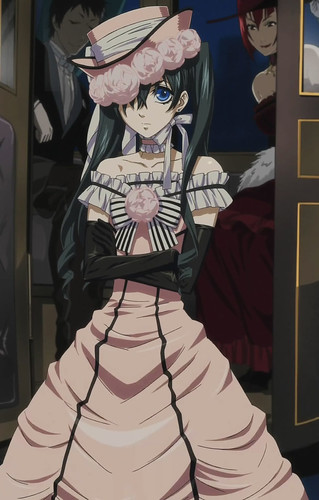 Ciel Phantomhive wearing pink dress