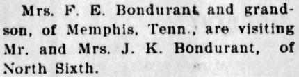Francis Elizabeth Brewer and James Paul Stalls, Sr visit James Knox Polk Bondurant an Mary Jane Brewer, 1905