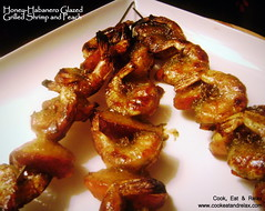 088 honey habanero glazed grilled shrimp and peach