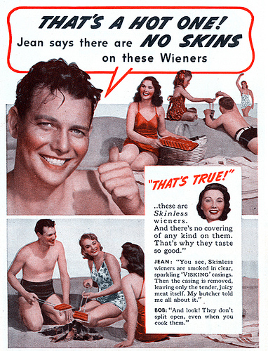 Hersteria Theatre skinless wiener vintage ad 1
