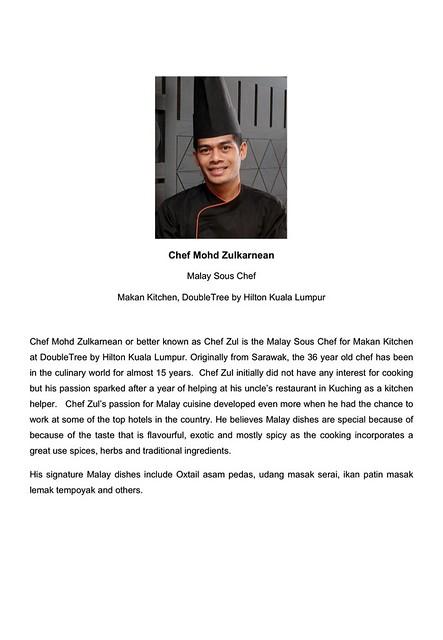 Chef Mohd Zulkarnean Bio