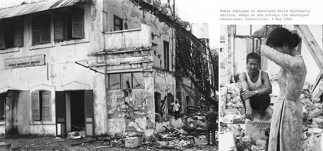 Saigon, 3 May 1968 - Nữ nhân viên làm việc tại tòa nhà Tương trợ Đại học Quốc tế khóc trước tòa nhà đổ sập vì bị VC đánh bom.