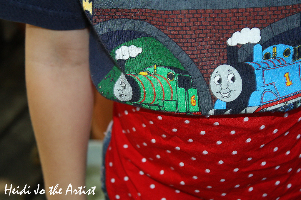 Thomas the Train & Wearing a Red Polka Dotted Apron