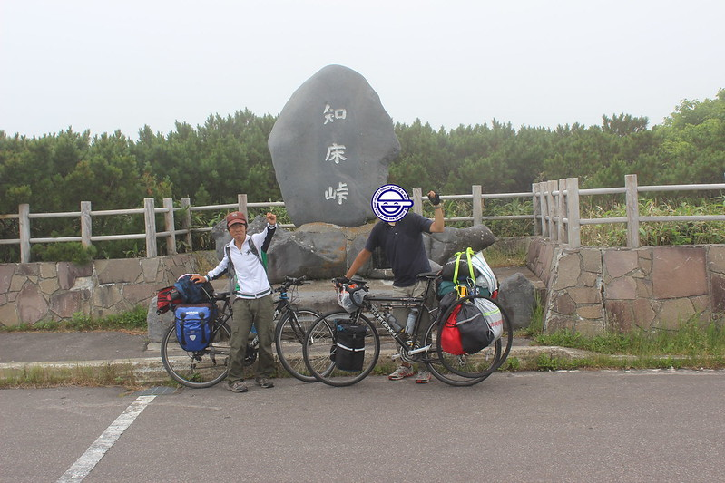 知床峠で記念撮影