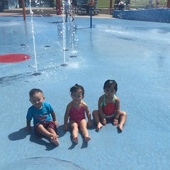 Fun time at the splash park - even got them to sit down together for a split second! #latergram