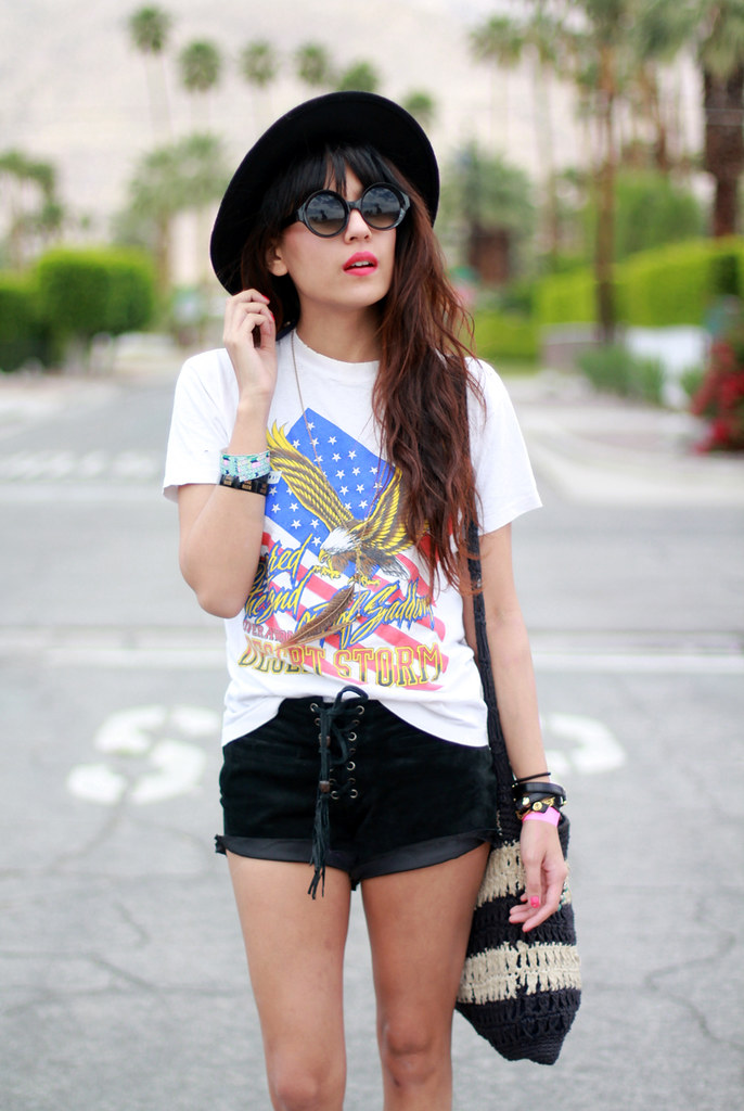 Tarte Vintage Desert Storm Eagle tee, suede lace-up shorts available at shoptarte.com, Jeffrey Campbell Beebee Cheetah Fur