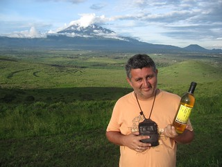 Željko Garmaz in Africa drinking pineapple wine