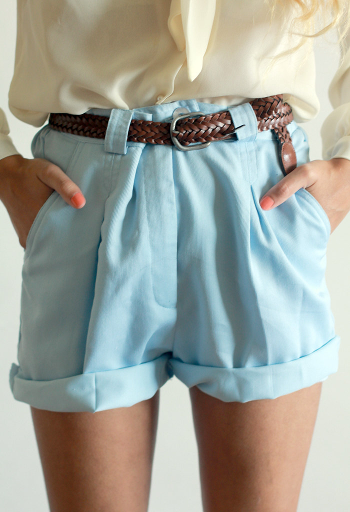 Tarte Vintage light blue cuffed shorts at shoptarte.com
