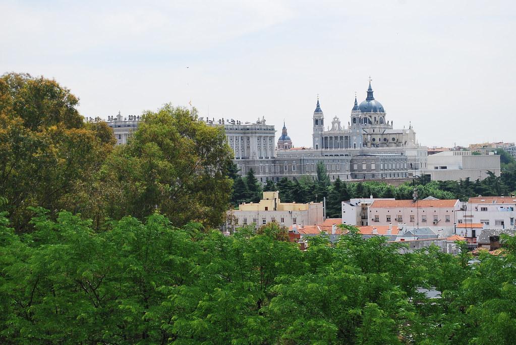 View of Palacio Real and Cathedral, Parque de la Montana, Madrid, Spain