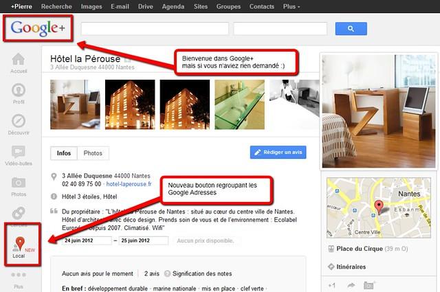 Google Adresses, intégré à Google +