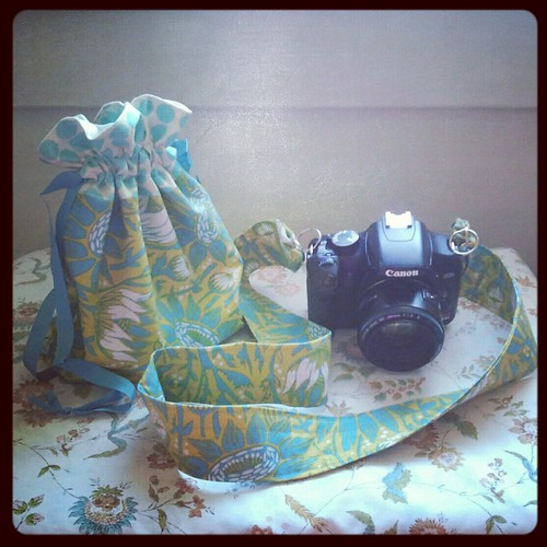 finished: camera strap and drawstring bag