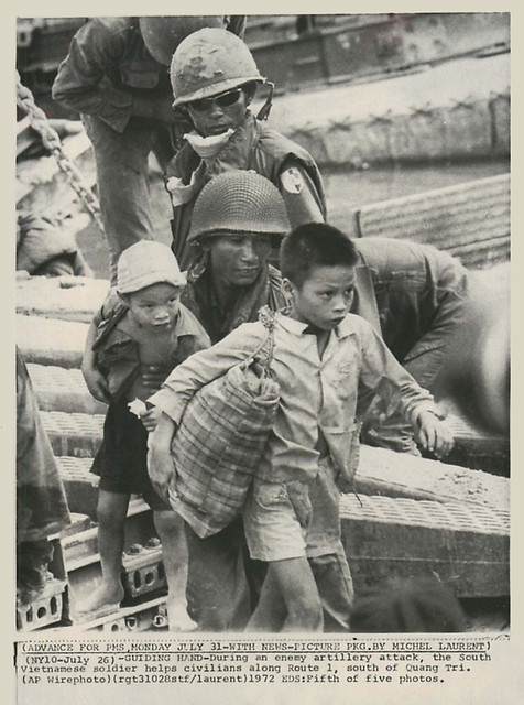 Quang Tri 1972 - Vietnamese Troops Evacuate Children During Attack at Quang Tri