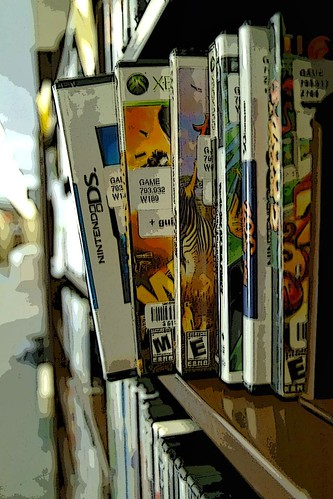 Filtered image of games on shelf