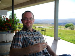 Josh enjoying wine