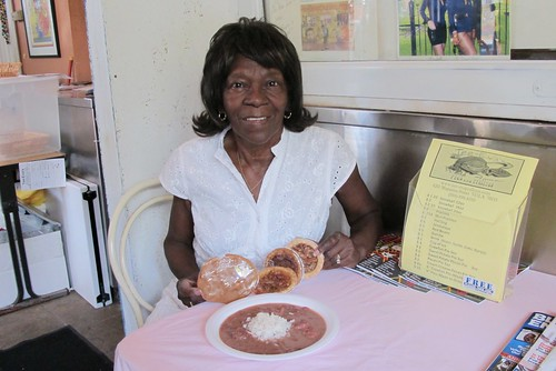 Tee-Eva with her red beans & rice. Photo by Jennifer Leslie