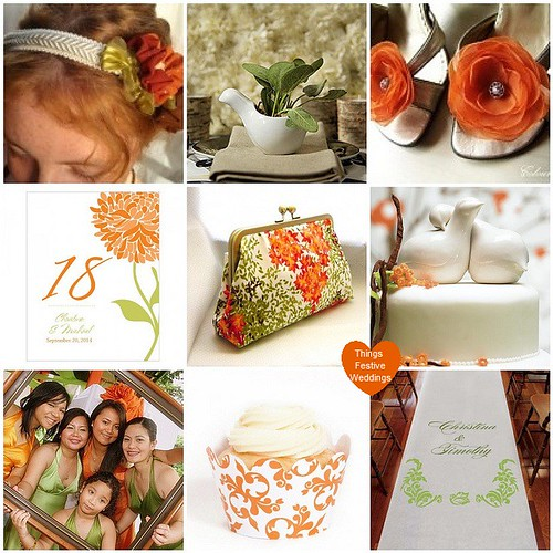 Tangerine Orange & Willow Green Wedding Theme