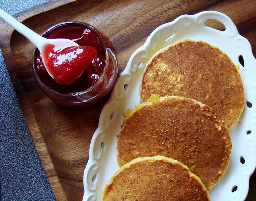 Corn Pancakes with Strawberry Guava Syrup