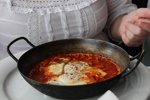 Shakshouka for breakfast at Manta Ray, Jaffa